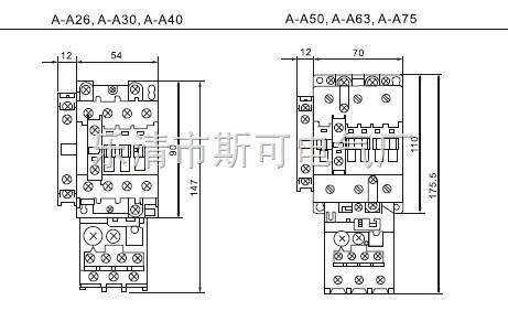 2个cjT1B系列380v交流接触器正反接线图
